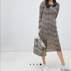 Asos midi leopard dress